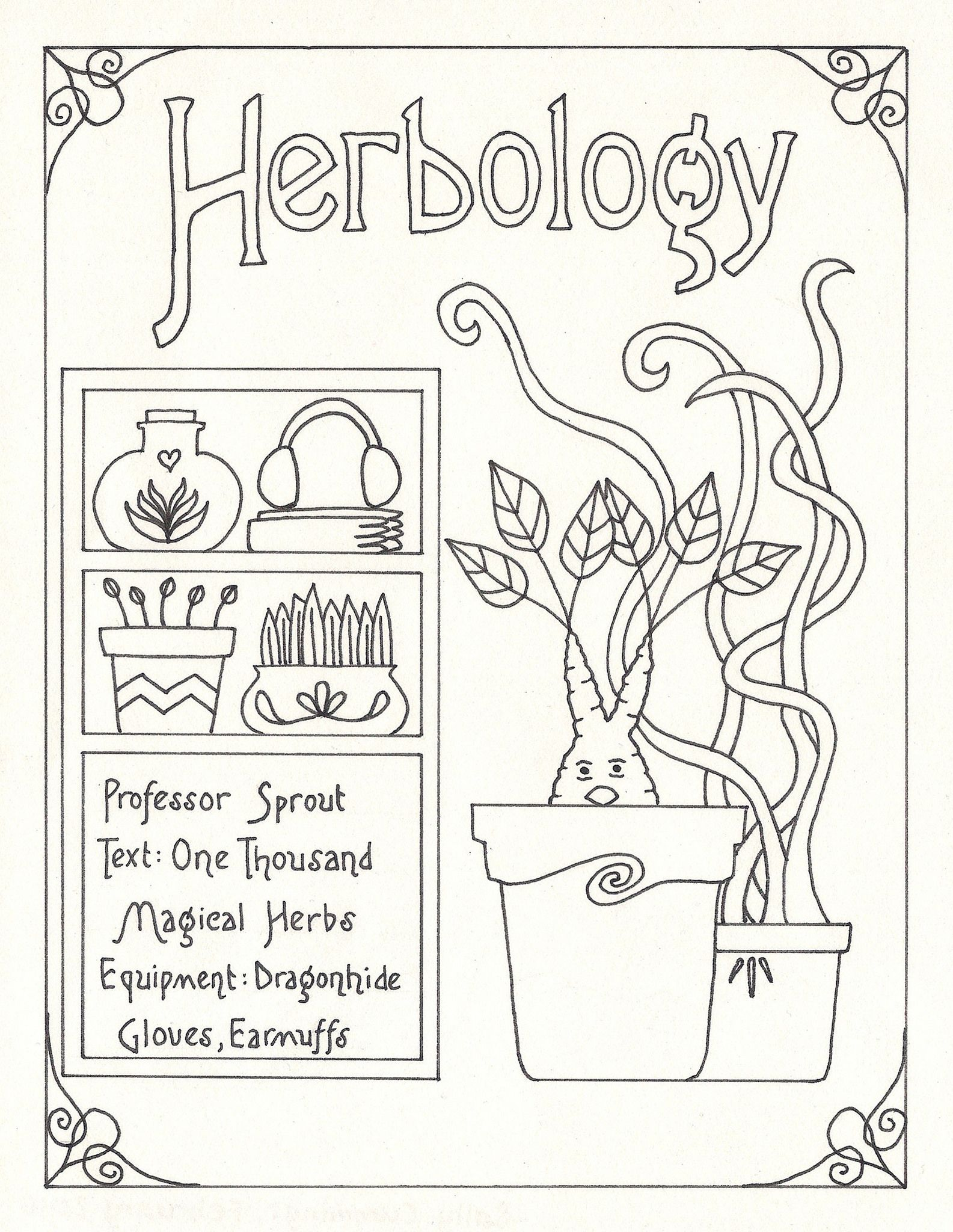 harry potter subject guide art nouveau style herbology harry