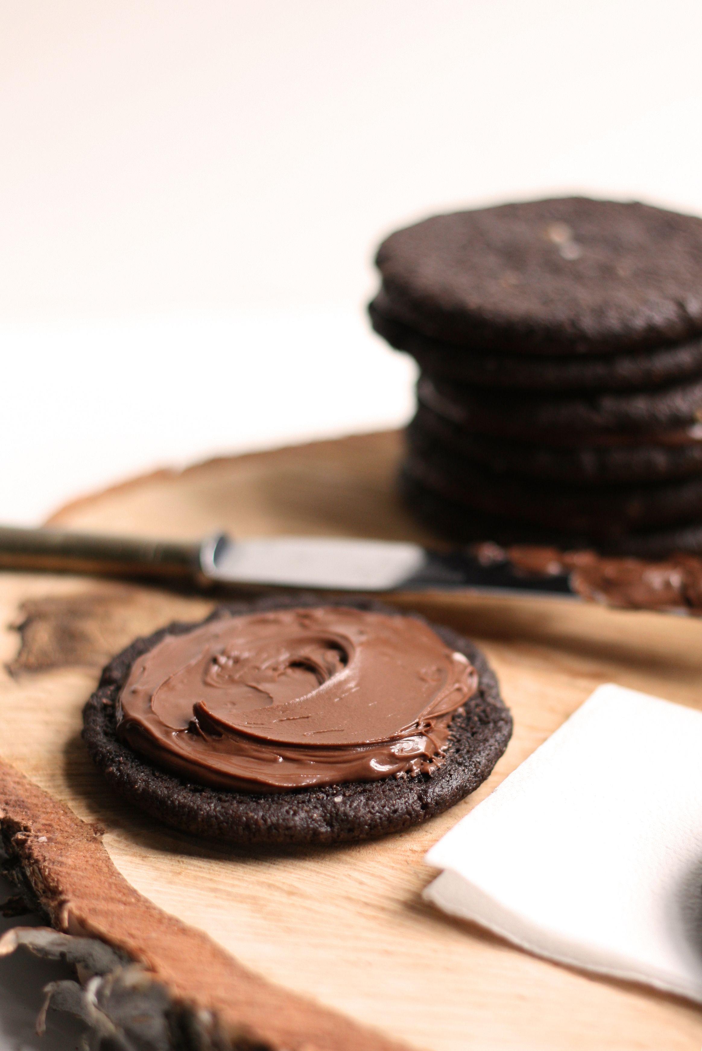 Salted Dark Chocolate Nutella Cookies