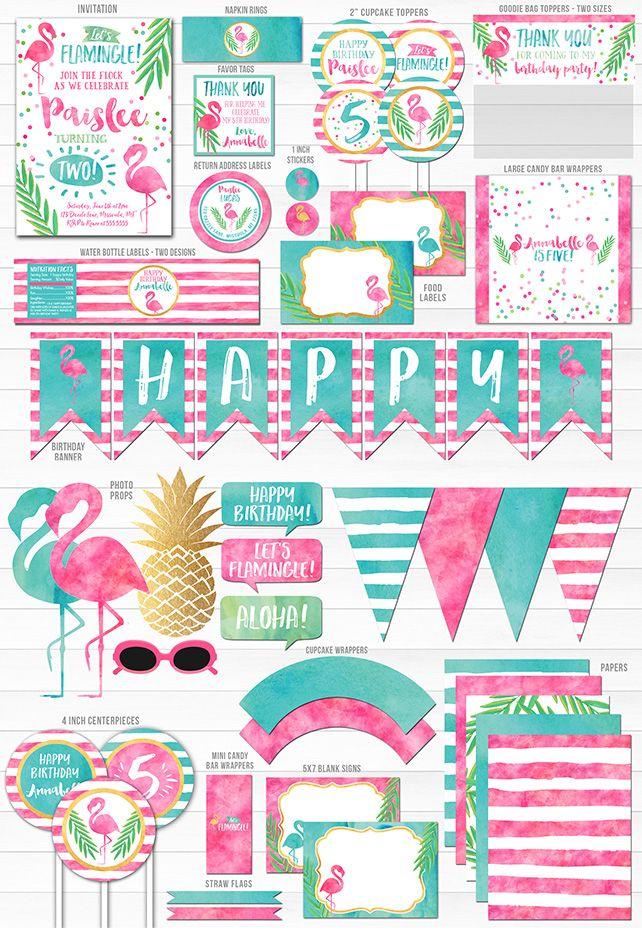 Printable Watercolor Flamingo Birthday Party Package ...