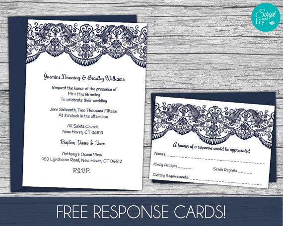 Lace Wedding Invitation Template FREE Response Card Template - microsoft word wedding invitation templates free