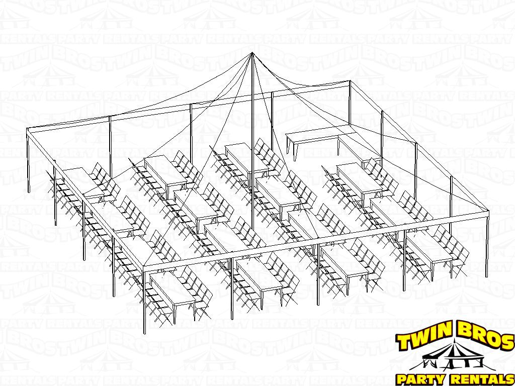 Pole Tent 40x40 3d Seating For 150 Banquets With Food