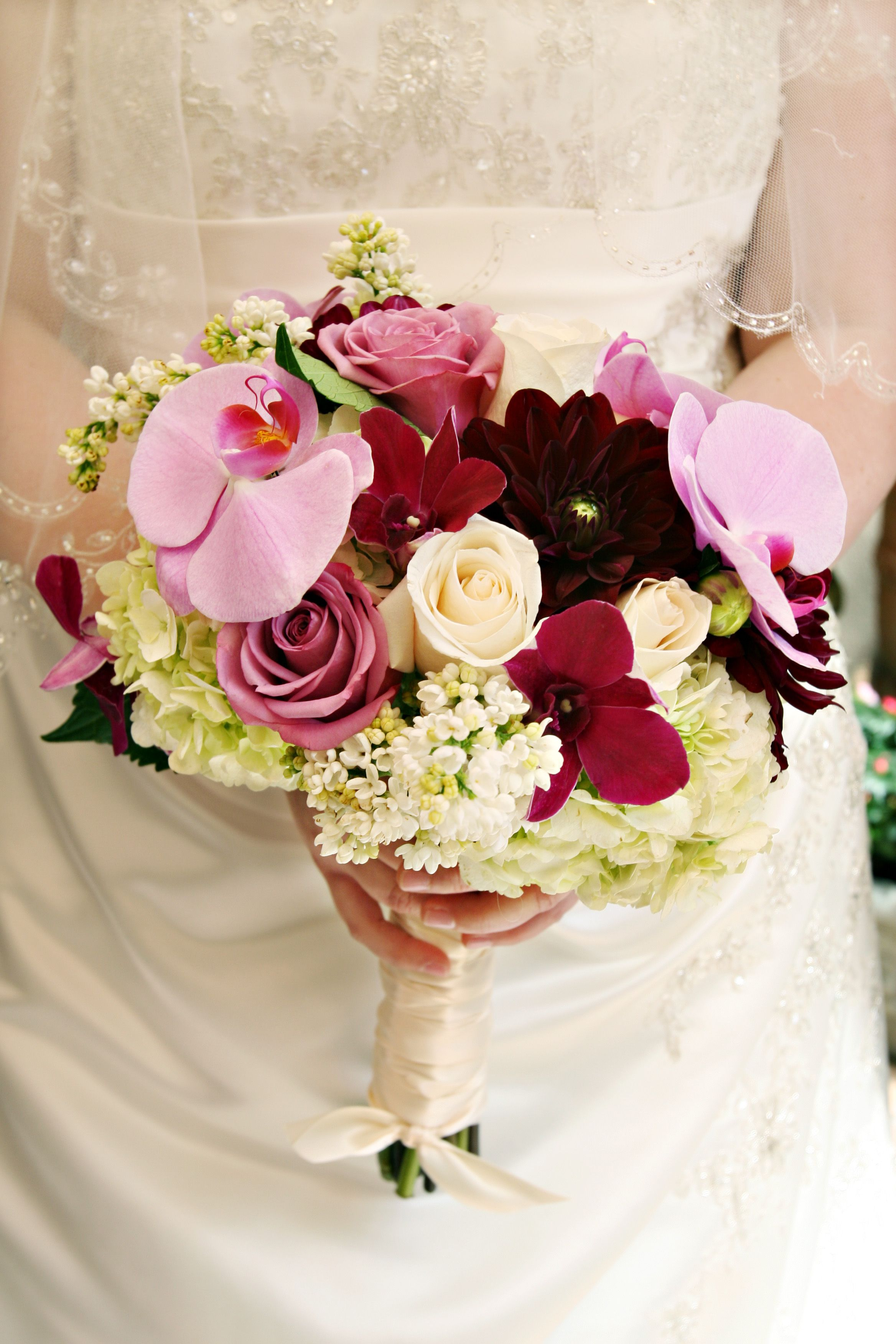 Wedding bouquets red and white roses  pink and red orchids white and pink roses  Ginaus Wedding Bouquet