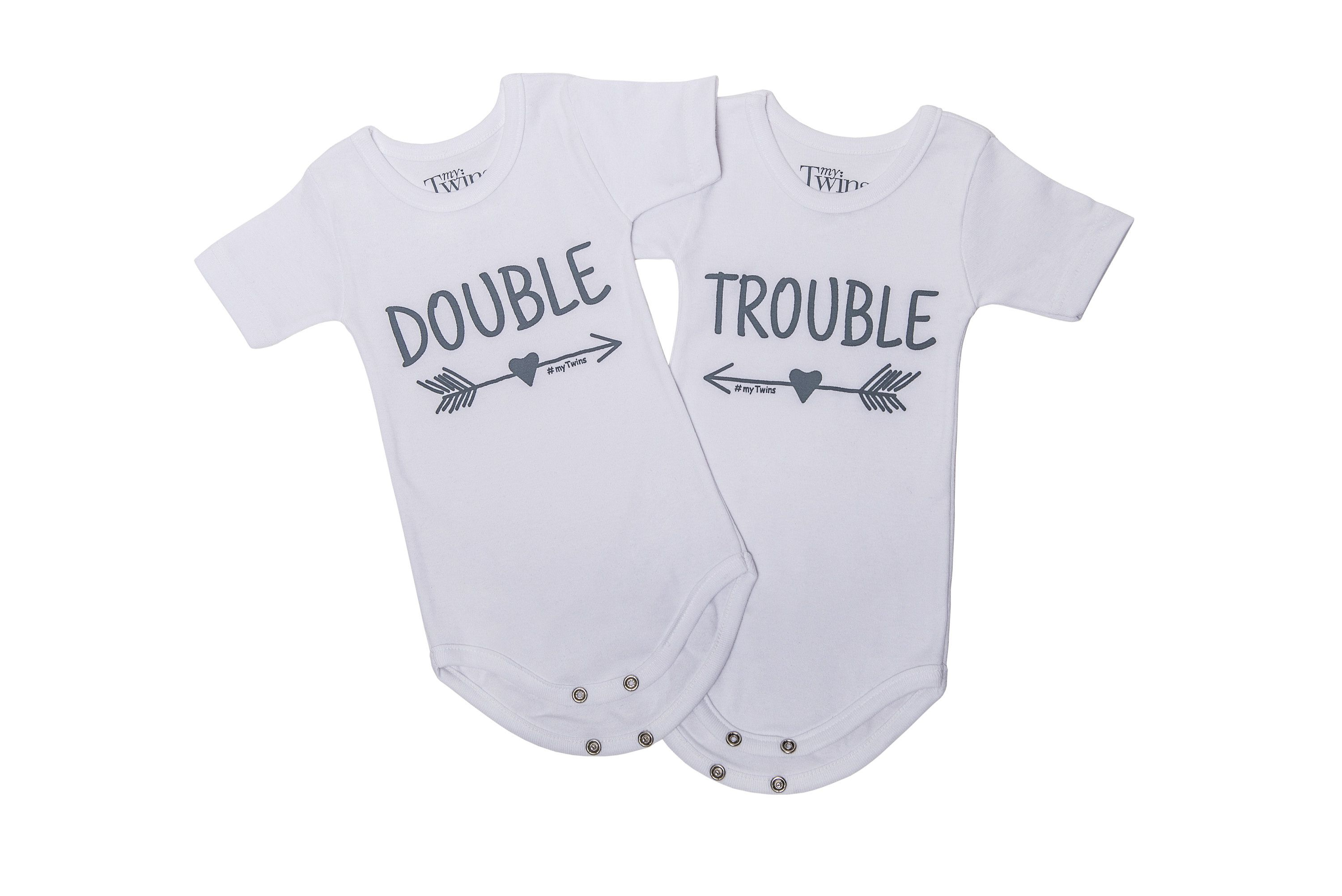85057252b90 Twin Onesies Double Trouble | myTwins Etsy Shop | Onesies, Twin ...