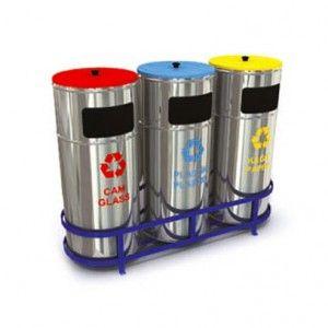Design-Wertstoffsammler / Mülltrennsystem für Abfall- und Mülltrennung WXK 608C aus hochwertigem und rostfreiem Edelstahl (3 x 32Liter)   RecyclingUp! - Österreichs, Deutschlands und der Schweiz größte Auswahl an Recycling Tonnen, Wertstoffsammler, Abfalltrennsysteme, Mülltrennsysteme für Kunststoff-Recycling, Metall-Recycling, PET-Recycling, Papier-Recycling, Glas-Recycling oder Wertstoff-Recycling