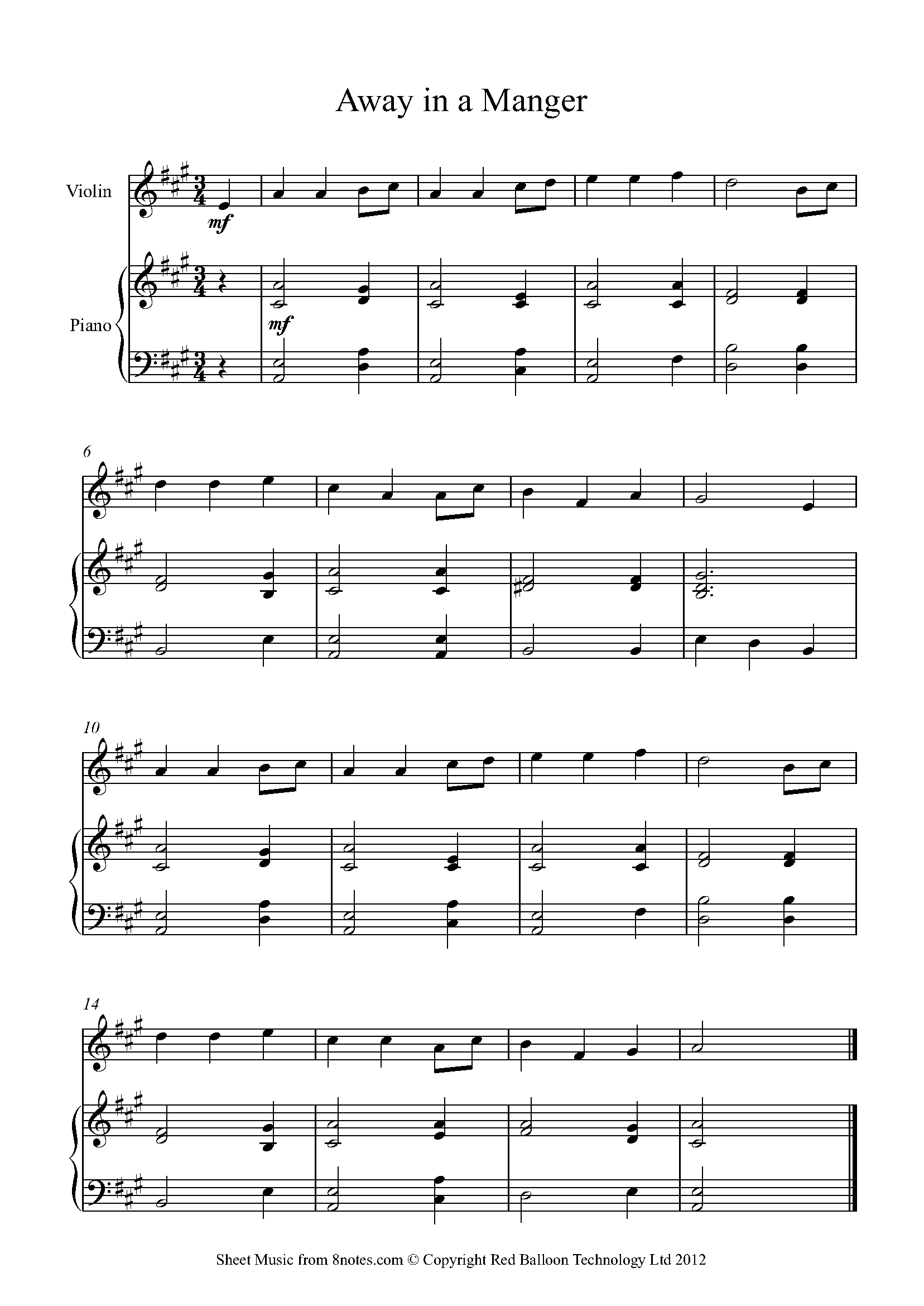 John denver grandma s feather bed sheet music - Away In A Manger Sheet Music For Violin