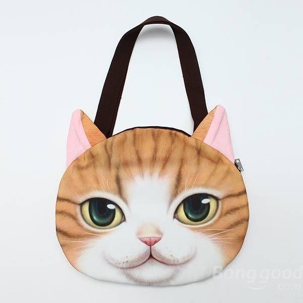 Women Cute Cat Face Handbag Shopping Bags Cat Pattern Shoulder Bag at  Banggood 09b450fac00d5