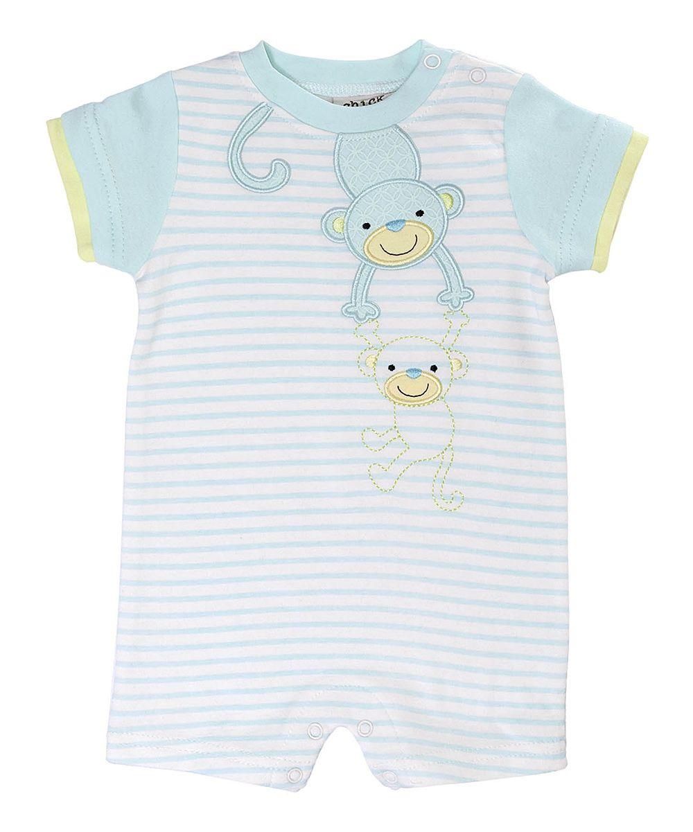 Blue Stripe Monkey Business Romper - Infant