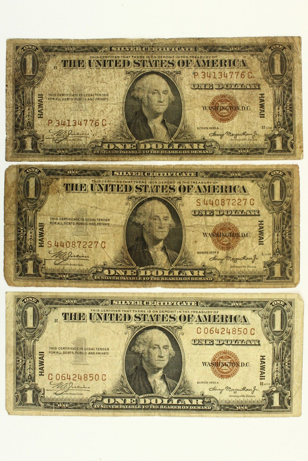 1935 A Lot Of 3 One Dollar Hawaii Silver Certificates Notes Brown