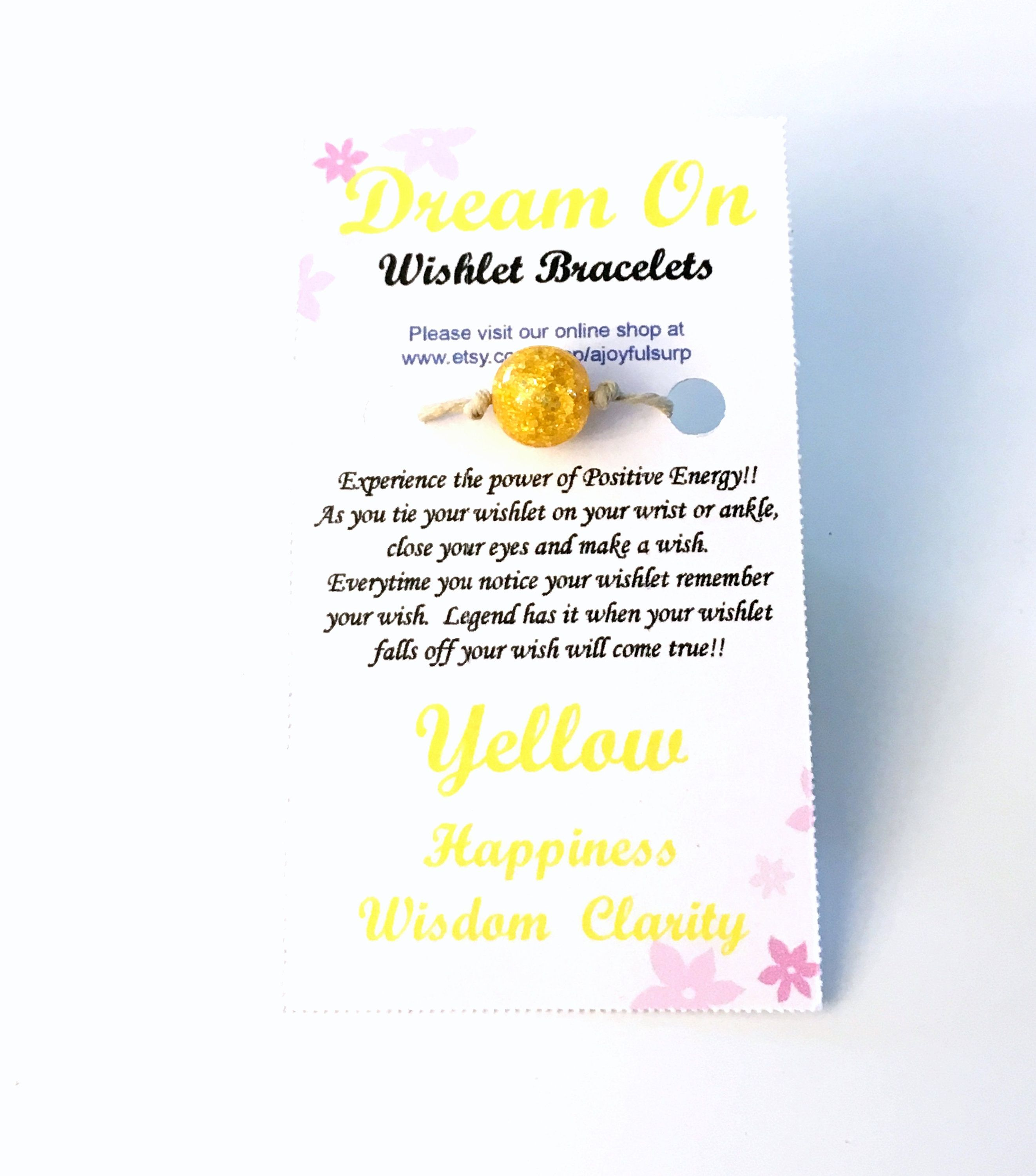 49a429507e5bc Yellow Wishlet Bracelet, Make a Wish Gift for Best Friend, Dream On ...