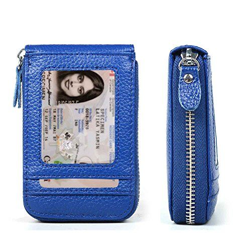 XeYOU RFID Blocking Genuine Leather Credit Card Case Holder Security Travel Wallet Front Pocket Wallets for Men and Women Blue -- To view further for this item, visit the image link.