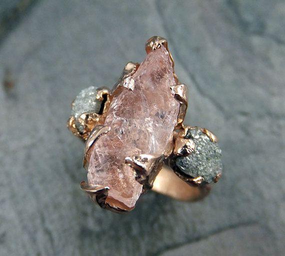 custom raw morganite diamond rose gold engagement ring wedding ring custom one of a kind gemstone ring bespoke three stone ring byangeline - One Of A Kind Wedding Rings
