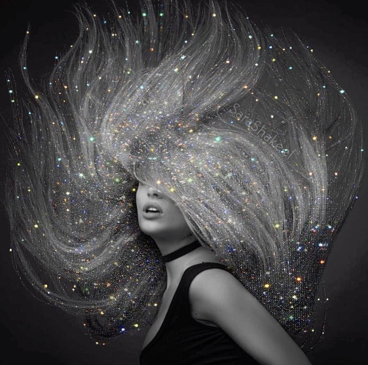 Glitter Hair Flip In 2020 Hair Flip Glitter Hair White Image