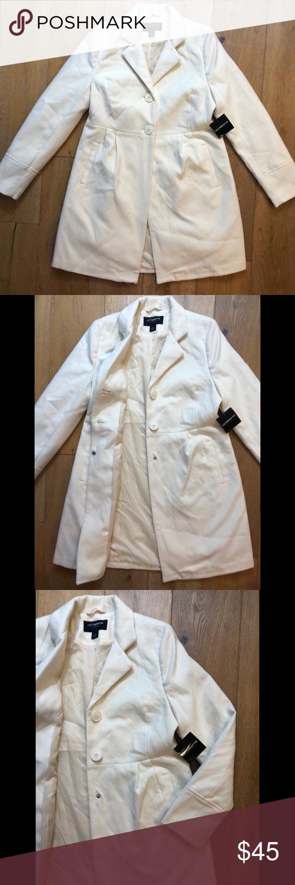 Liz Claiborne Outerwear Off White Peacoat M Liz Claiborne Outerwear Claiborne [ 1740 x 580 Pixel ]