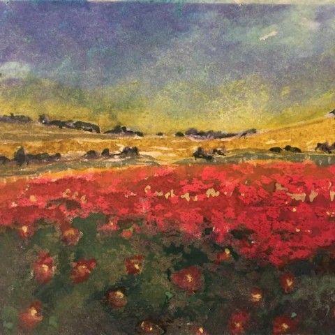 Sue Bolton / Flowers Dotting Landscape / Watercolor / 5×7 / Print: $30