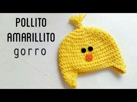 Gorro de Pollito Amarillito a Crochet - Paso a Paso | gorros ...