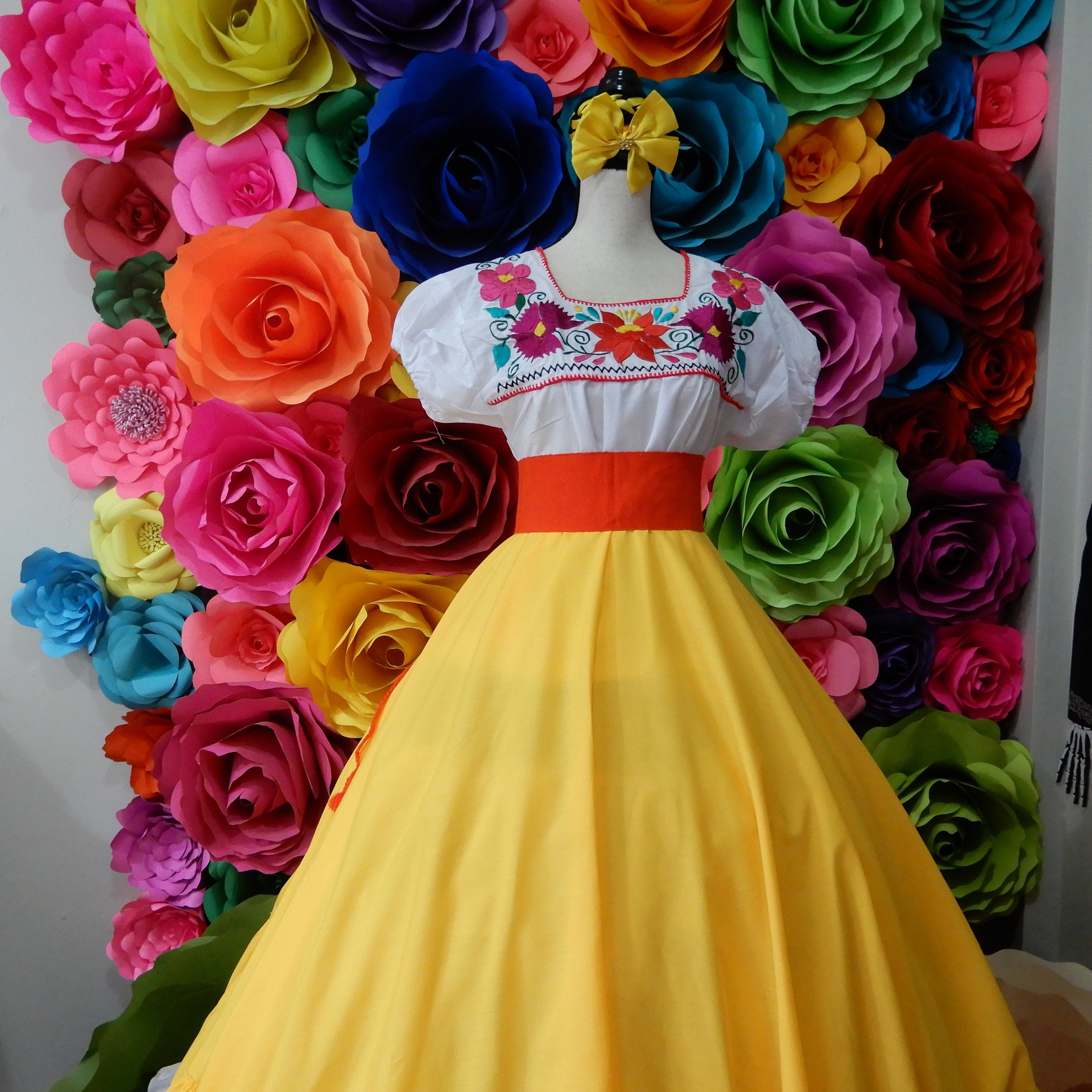 Mexican Yellow Skirt Handmade Beautiful Frida Kahlo Style Womans Mexican Boho Theme Party Day Of The Dead Skirt Only Coco Theme 90cm Mexican Quinceanera Dresses Mexican Dresses Quince Dresses Mexican [ 3000 x 3000 Pixel ]