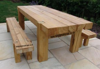 Bespoke And Unique Oak Garden Table Furniture. Also Can Be Custom Made To  Your Design And Sizes. Beautifully Made Rustic Oak Outdoor Furniture For  You.