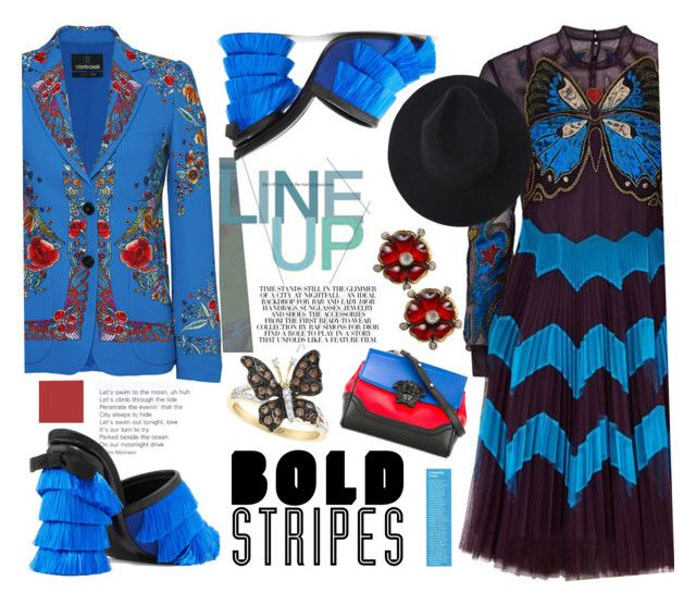 """Bold Stripes"" by felicia-mcdonnell ❤ liked on Polyvore featuring Mary Katrantzou, Marco de Vincenzo, Versace, Roberto Cavalli, versace, robertocavalli, marykatranzou and BoldStripes"