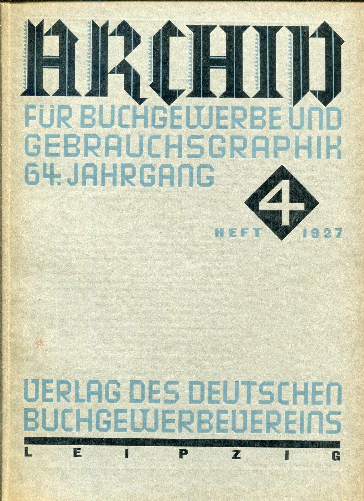 Cover Archiv für Buchgewerbe und Gebrauchsgraphik, 64. Jahrgang, Heft 4 1927