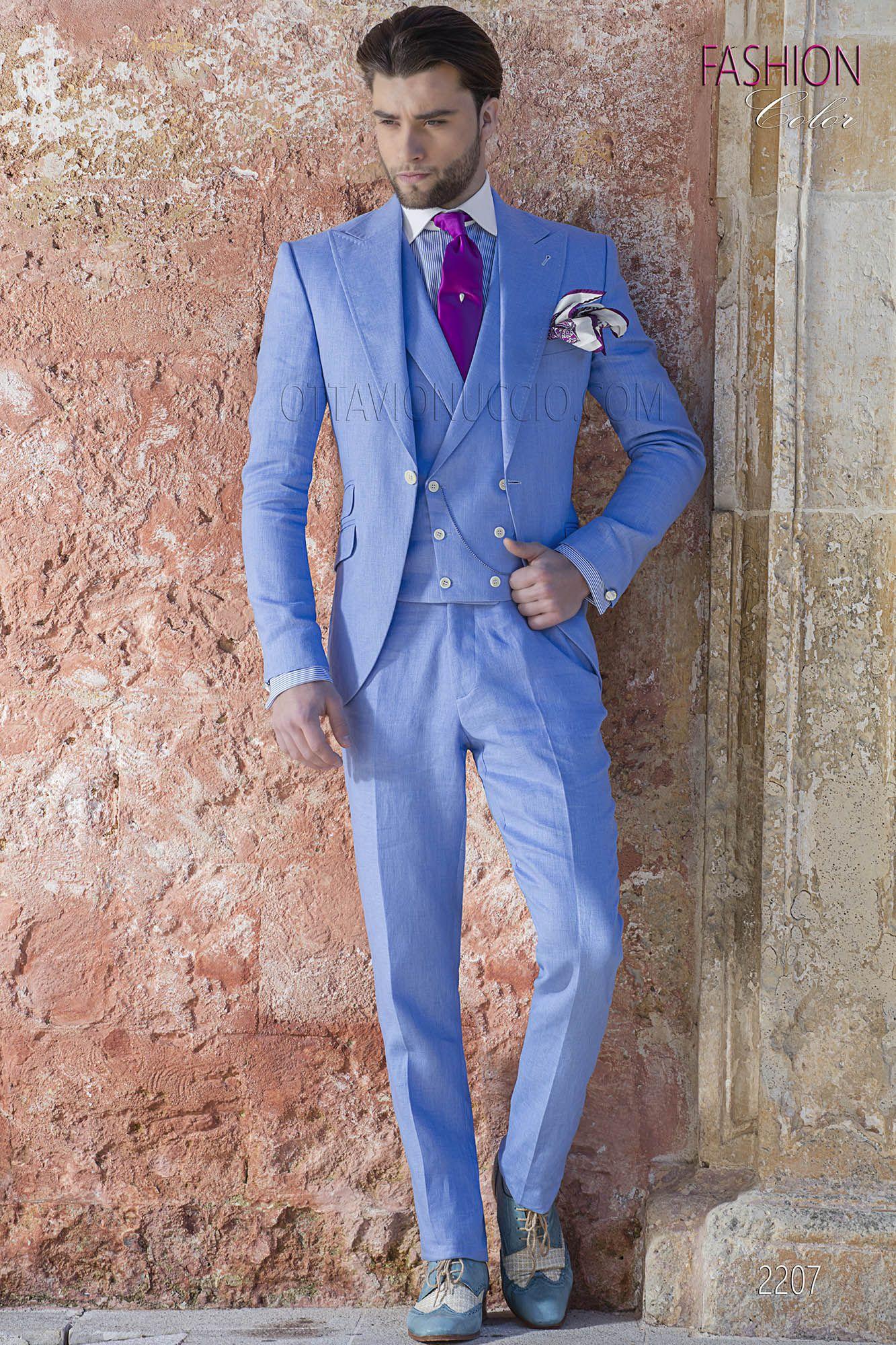 Abito da cerimonia uomo fashion in puro lino celeste. Completo ONGala 2207 81b5822b63d