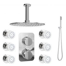 black twin diverter valve shower set