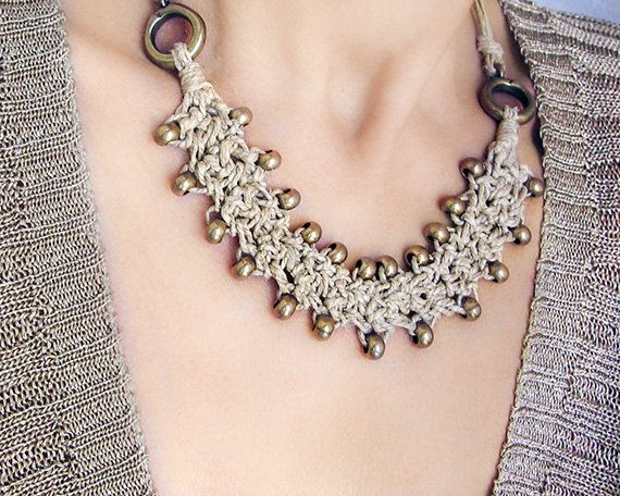 Beaded Necklace Brass Bead Necklace Short bib by myTotalHandMade