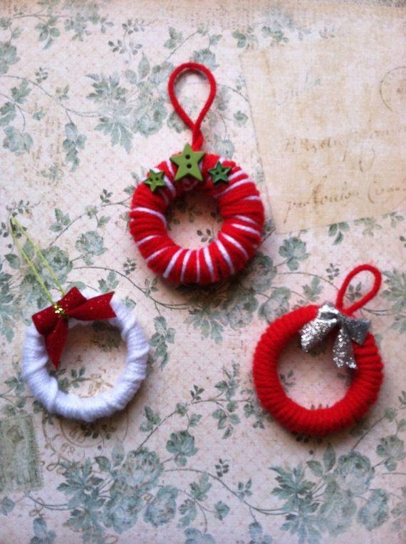 Mini Wreath Ornaments. Set of 3. Christmas Ornaments. Yarn Ornaments. (C17) READY TO SHIP