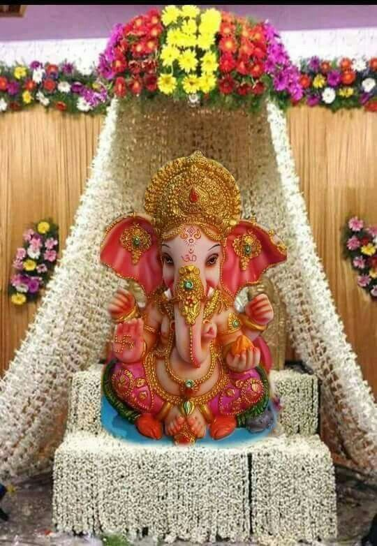 Sri Ganesha With Flowers Decorations Sri Ganesha Pinterest