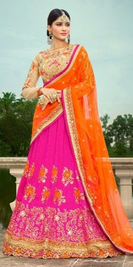 Magenta Designer A Line Lehenga For Wedding Wear