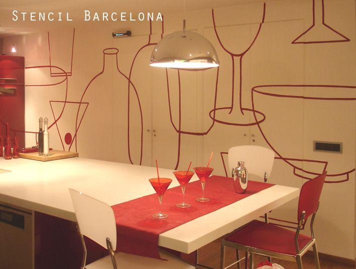 Cocina pintada por stencilbarcelona - Pared cocina pintada ...