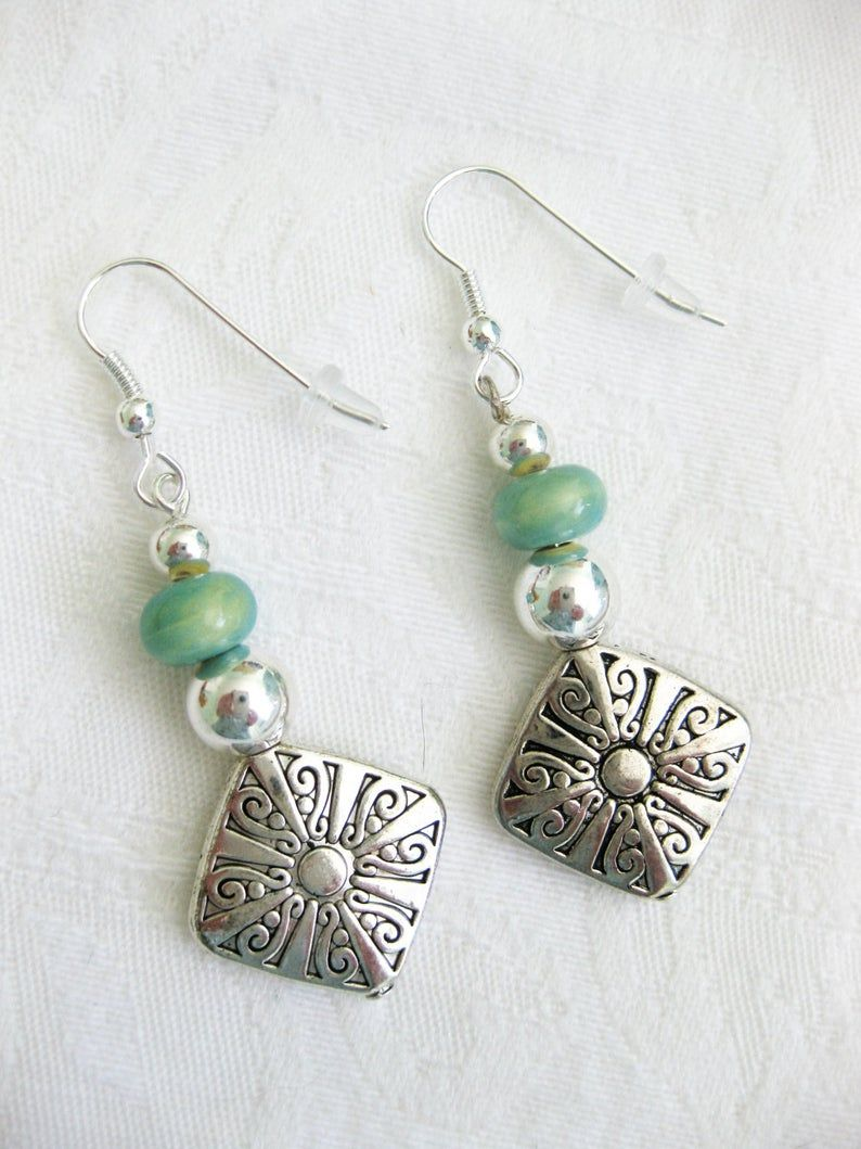 Silver Plated Findings Handmade Yellow Glass And Acrylic Bead Drop Earrings