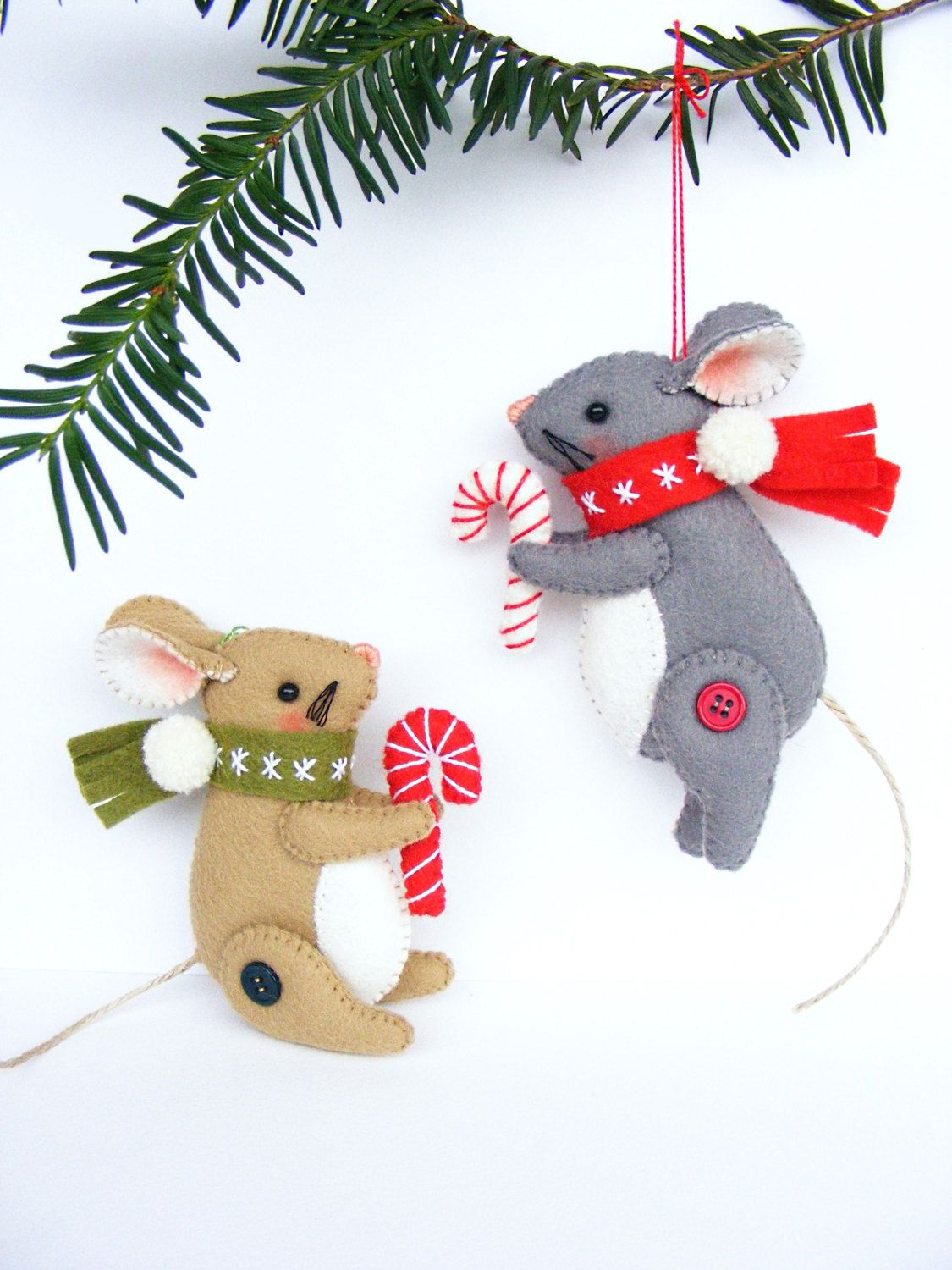 PDF pattern - Christmas Mouse - felt Christmas ornament, hand sewing ...
