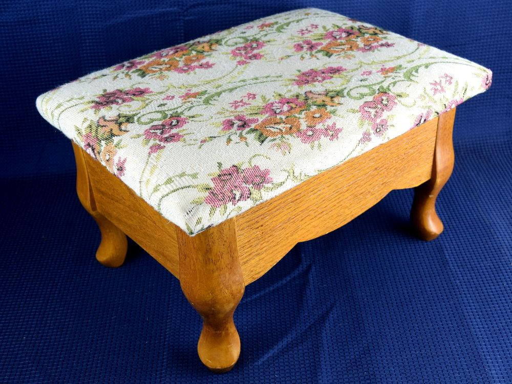 Mid Century Tapestry Sewing Box Storage Stool Padded Footstool With Queen Anne Legs