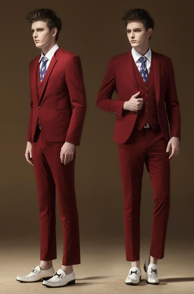 2015 Newest Design Wine Red Men Wedding Suits Bridegroom Three Pieces Jacket Pants Vest Back Vent One Button G Wedding Suits Wedding Suits Men Wedding Men