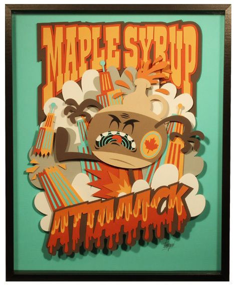 This is a paper art piece, I find them so interesting!  Maple Syrup Attack! by Tougui 1, via Behance