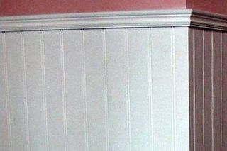 how to install wainscoting over wall tile in a bathroom