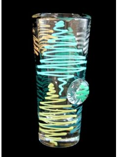 "Holiday Forest Shooter - This ""Holiday Forest"" designed shooter is your perfect unique hostess gift for the holidays. This delightful design is hand painted in hues of green, aqua, teal, silver and gold. The lush forest is a delight to your eyes from every angle."