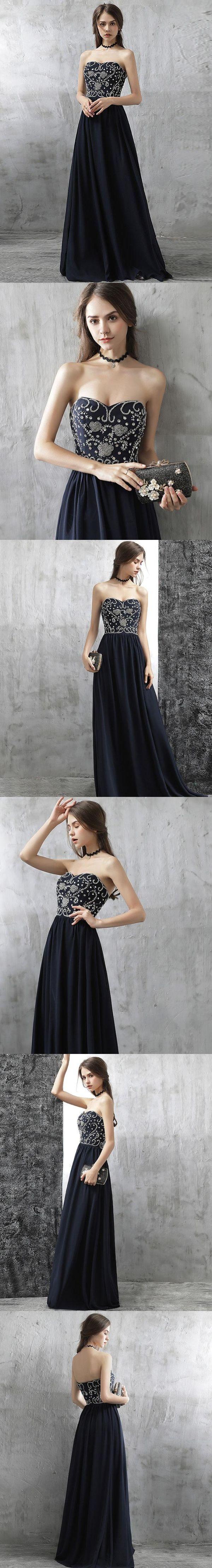 Simple prom dresses sweetheart floorlength dark navy chiffon sexy