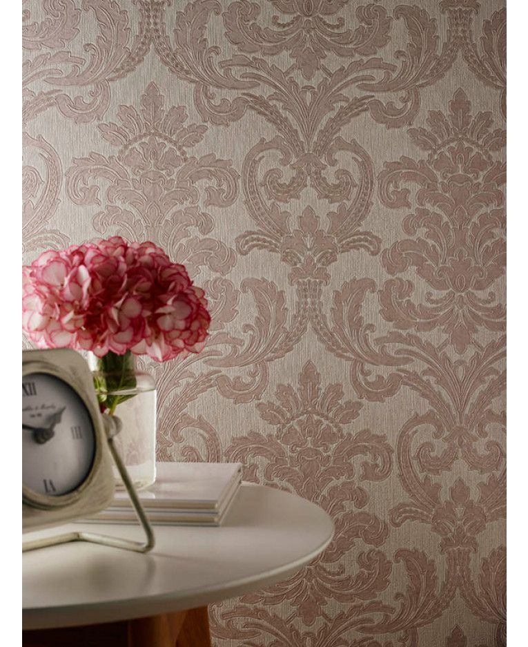 This luxury heavyweight vinyl Bari Damask Wallpaper by
