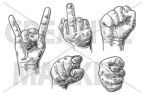 Male Hand finger sign by MoreVector on @creativemarket ...