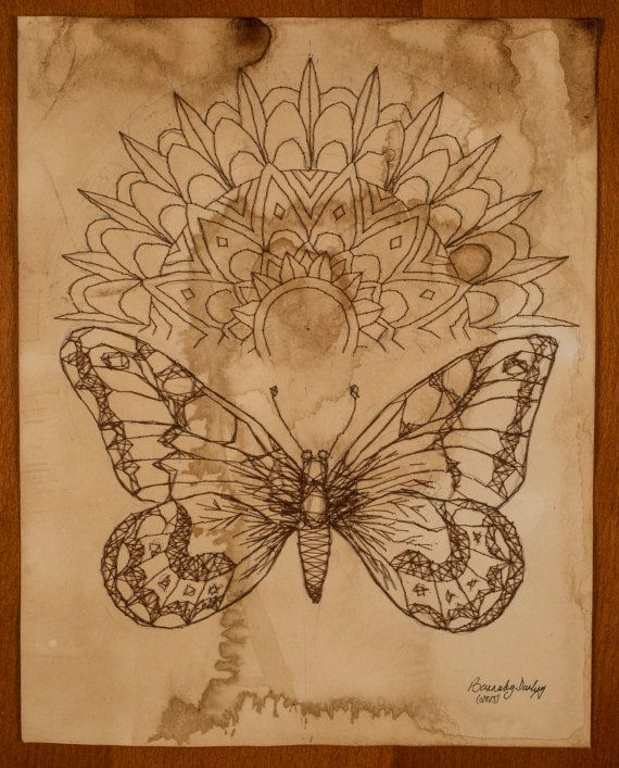Butterfly Mandala - Stitch artwork https://www.etsy.com/uk/listing/250928463/butterfly-mandala-stitched-art-on-paper?ref=shop_home_active_9