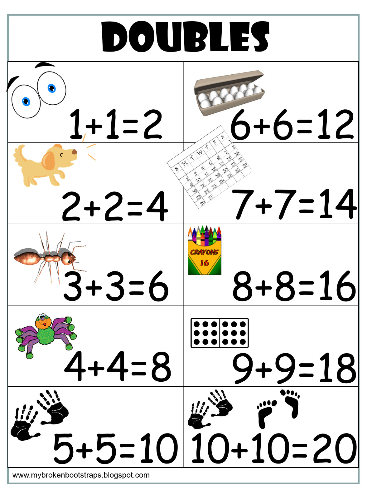 free doubles anchor chart i print them and put them in my students 39 individual folders for a. Black Bedroom Furniture Sets. Home Design Ideas