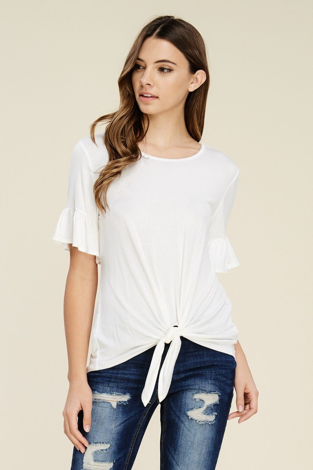 a247523124a74b Short Sleeve Front Tie Top Style  T1200 Knit top featuring solid ...