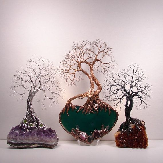 Wire Tree Of Life Spirits sculpture Green by CrowsFeathers on Etsy, $139.00