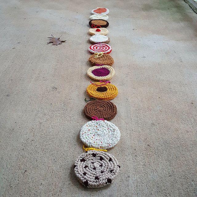 thirteen crochet cookies for a crochet scarf, crochetbug, crochet cookies, crochet sugar cookie, crochet gingersnap, crocheted, crocheting, crochet circle, crochet circles, crochet scarf
