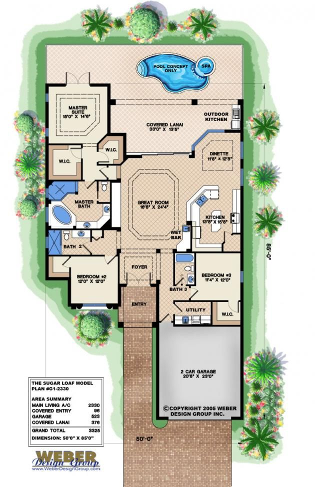 Mediterranean House Plan Narrow Lot Golf Course Home Floor Plan Narrow Lot House Plans Mediterranean House Plans Coastal House Plans