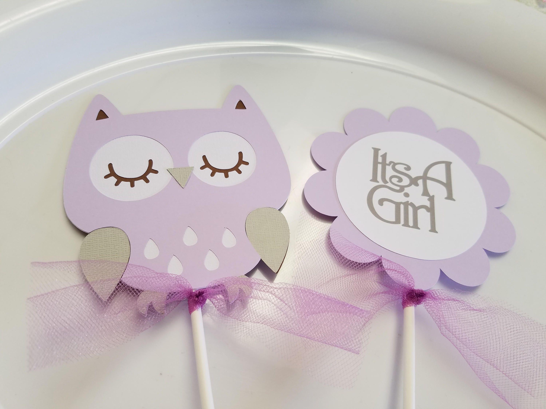 Owl Baby Shower centerpiece sticks, Owl its a girl, owl centerpiece ...