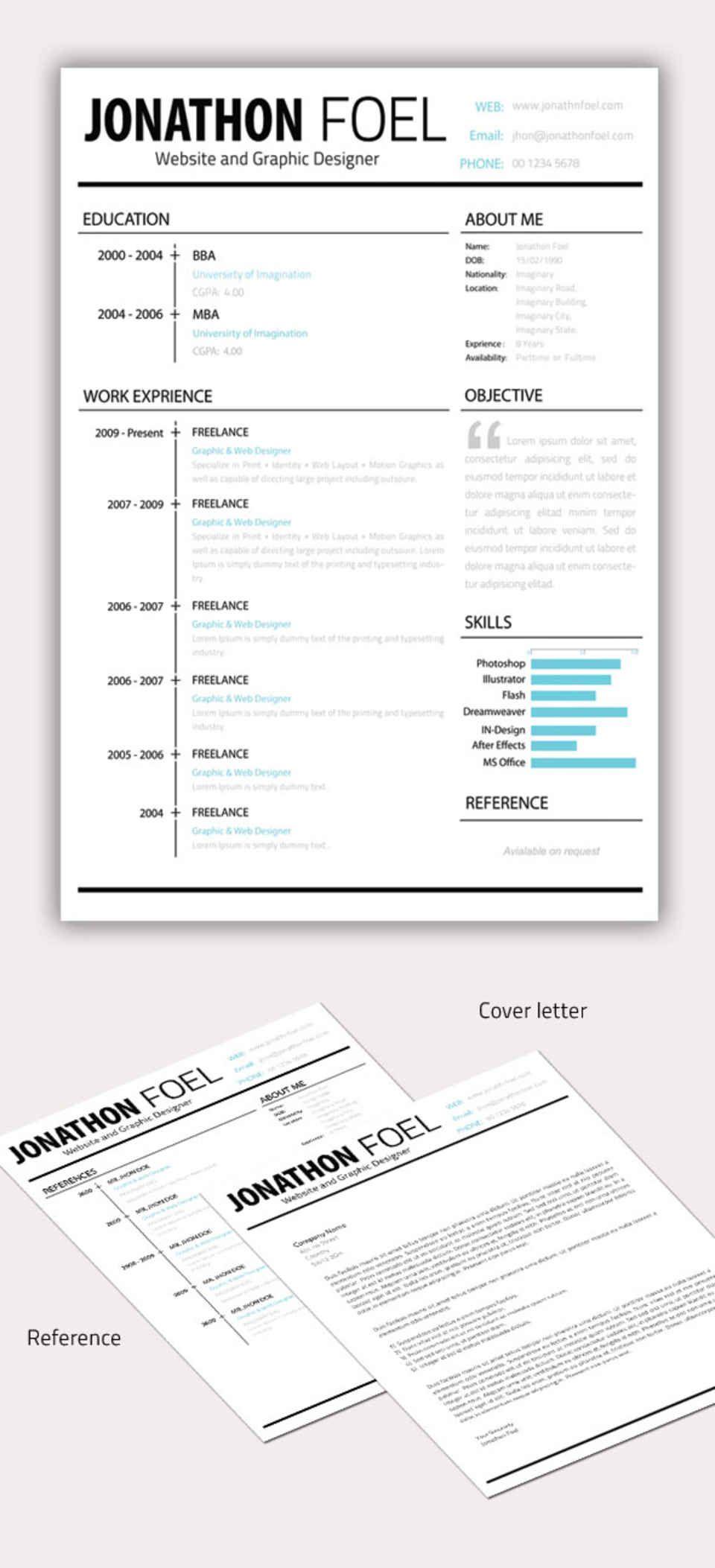 Minimal Resume Cv Template Psd Download Graphic Resume Lettering Cv Design Template
