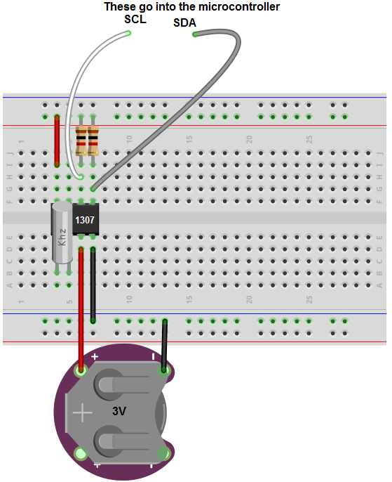 ds1307 real time clock (rtc) circuit breadboard schematic arduinods1307 real time clock (rtc) circuit breadboard schematic