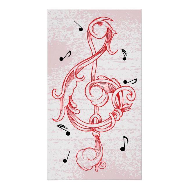 treble clef Red scrollwork sol note key poster | Zazzle.com #trebleclef